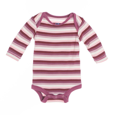 Kickee Pants Print L/S One Piece, 12-18 Months, Girl Dino Stripe