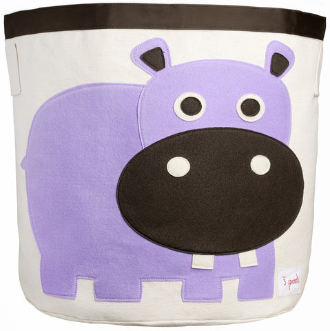 3 Sprouts Storage Bin Hippo, Purple
