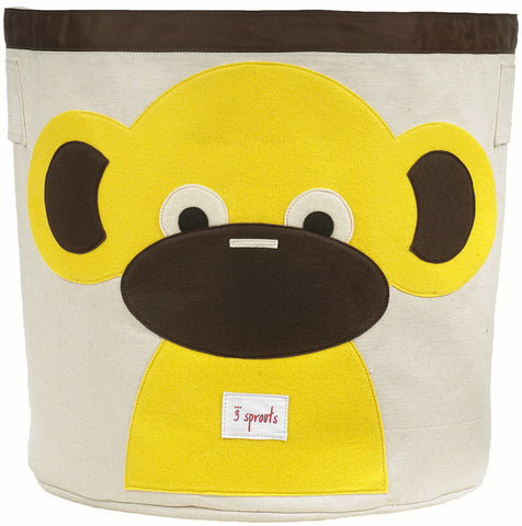 3 Sprouts Storage Bin Monkey, Yellow