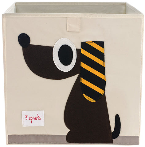 3 Sprouts Storage Box Dog, Brown