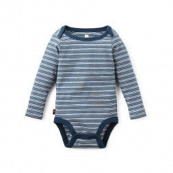Tea Collection Maiten Striped Bodysuit, 6_12, deep ocean