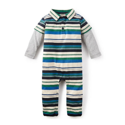 Tea Collection Emanuel Striped Polo Romper, 0-3, REgal Blue