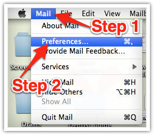 Mac Email Whitelisting Steps 1 and 2