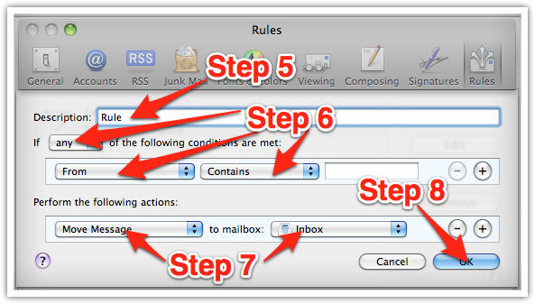 Mac Email Whitelisting Steps 5, 6, 7 and 8