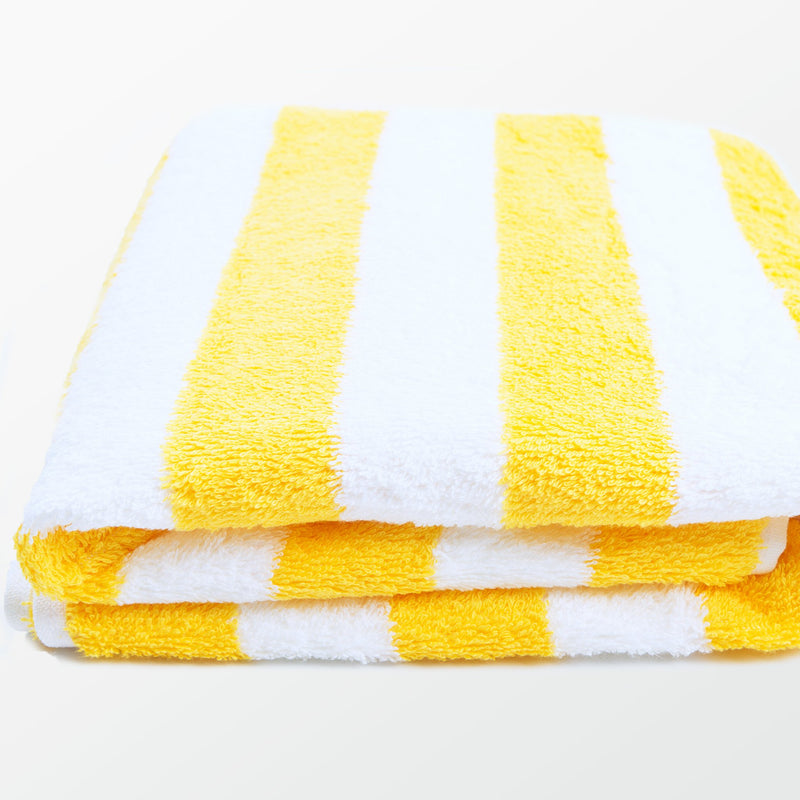RC Cotton Pool Towel - Yellow Cabana Stripes