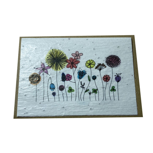 Carte à planter double Fleurs multicolores