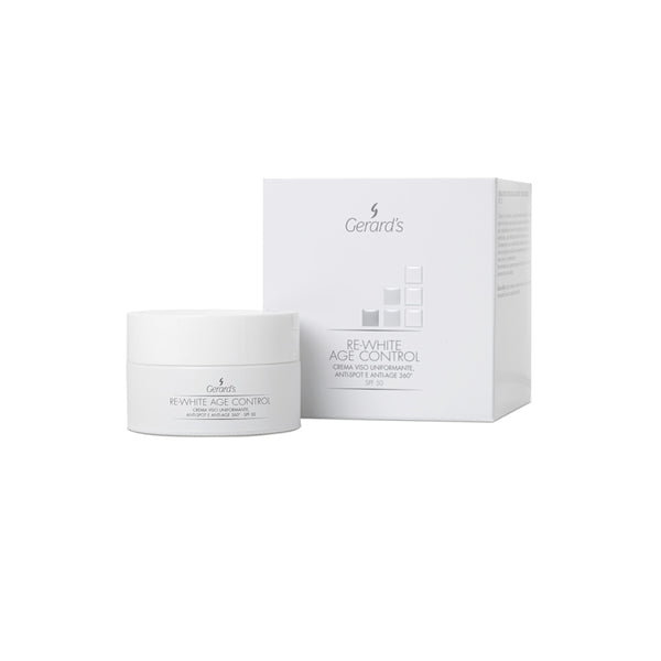 RE-WHITE AGE CONTROL CREMA VISO UNIFORMANTE, ANTI-SPOT E ANTI-AGE 360° - SPF 50 - Gerard's Cosmetic Culture