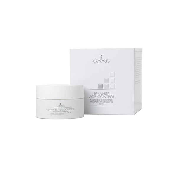 RE-WHITE AGE CONTROL FLUIDO VISO UNIFORMANTE, ANTI-SPOT E ANTI-OSSIDANTE - SPF 20 - Gerard's Cosmetic Culture