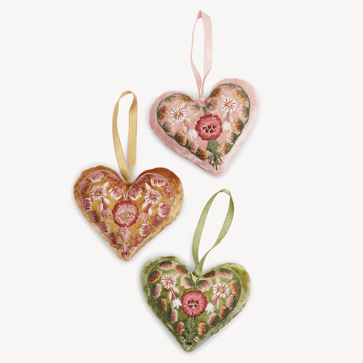 Embroidered Silk Velvet Heart - Oro