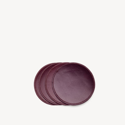 Leather & Suede Coasters Bordeaux/Blush
