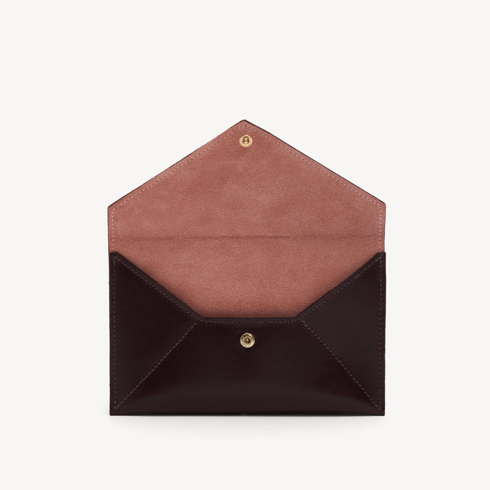 Leather Envelope Clutch Bordeaux/Blush