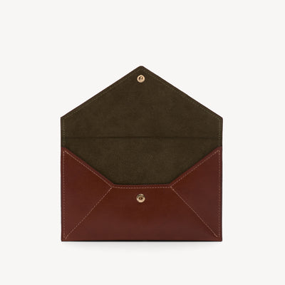 Leather Envelope Clutch Cognac/Olive
