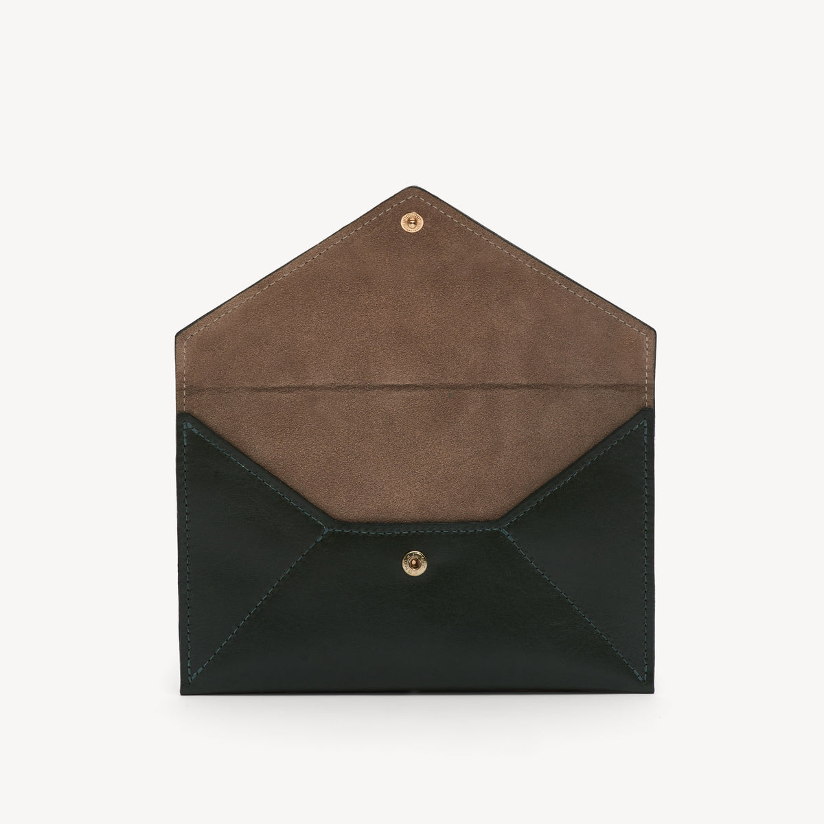 Leather Envelope Clutch Hunter/Taupe