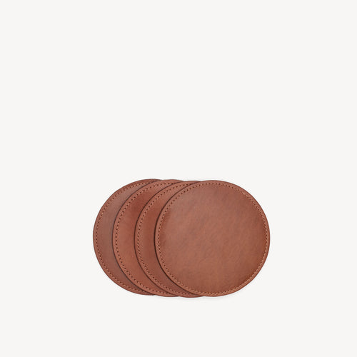 Leather & Suede Coasters Cognac/Olive
