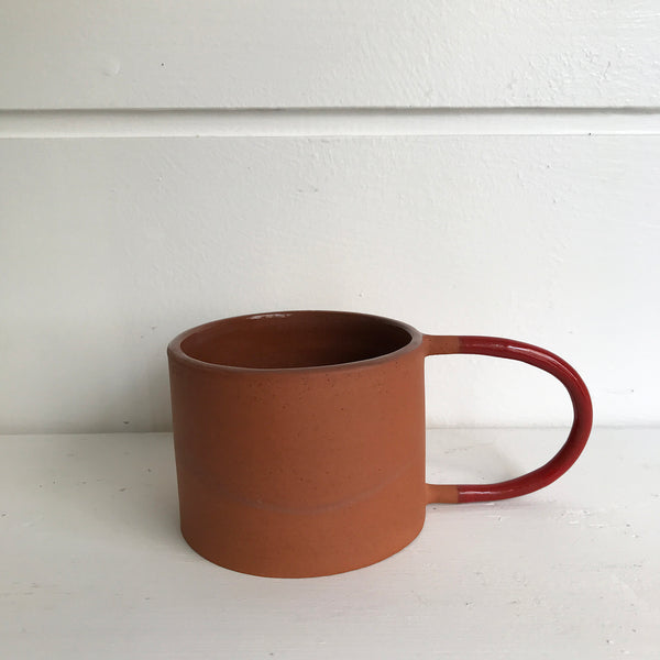 Terracotta Mug with Red Handle