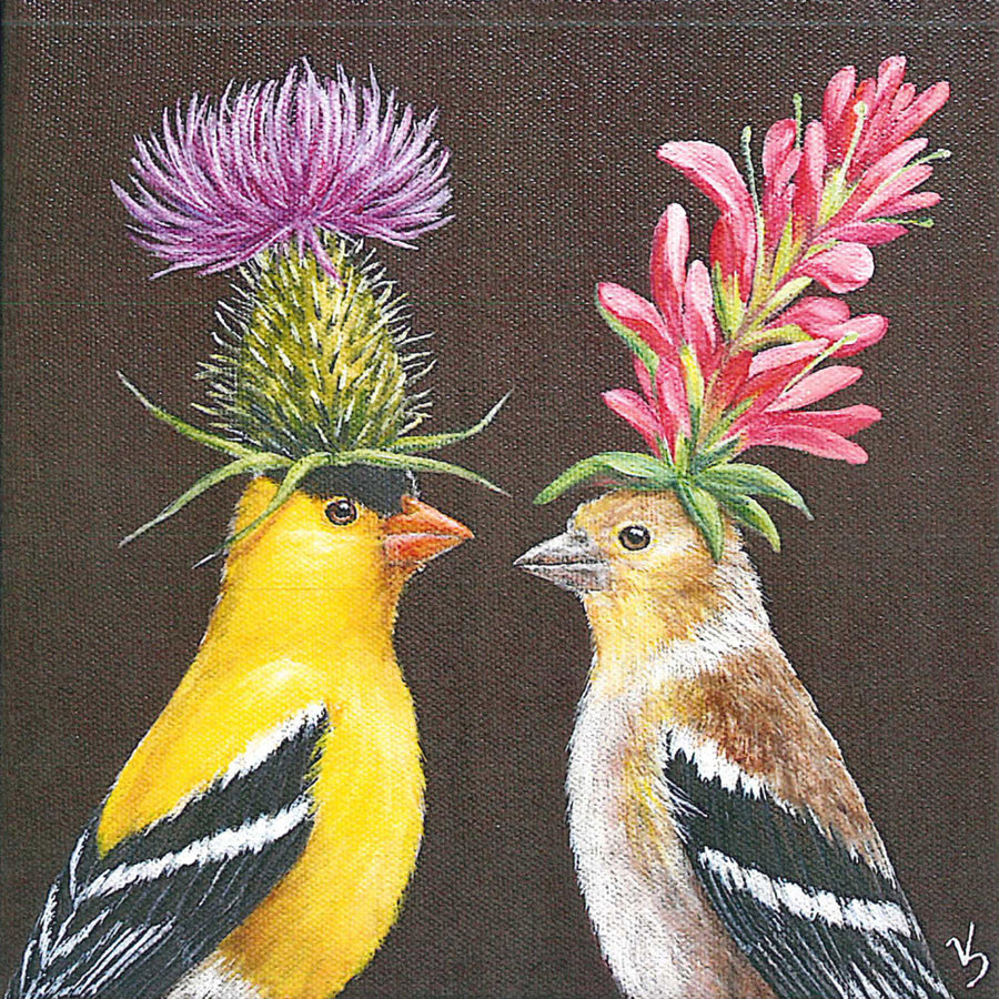 Goldfinch Couple Napkins By Vicki Saywer - The Danes