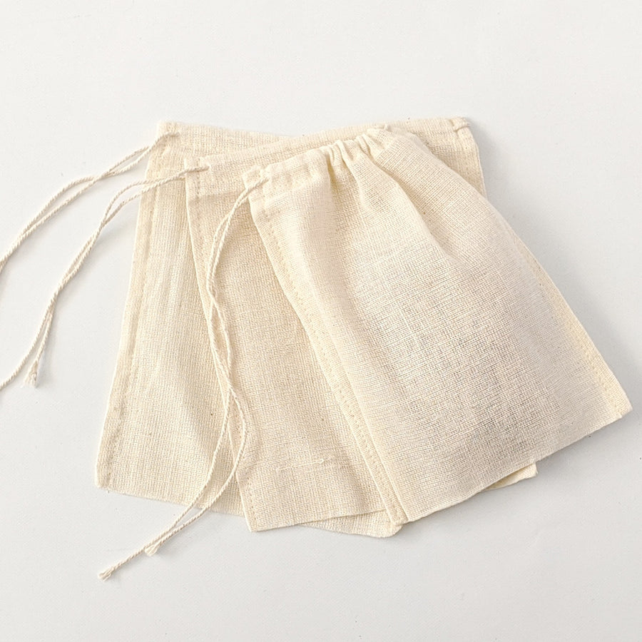 5 Small Cotton Drawstring Bags - The Danes