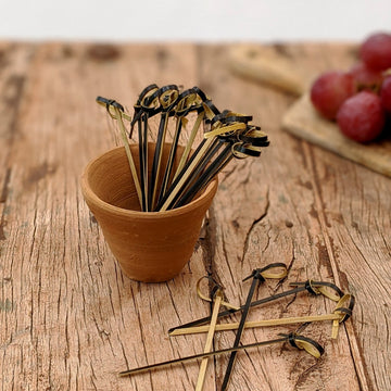 Black Bamboo Cocktail Sticks - Looped - The Danes