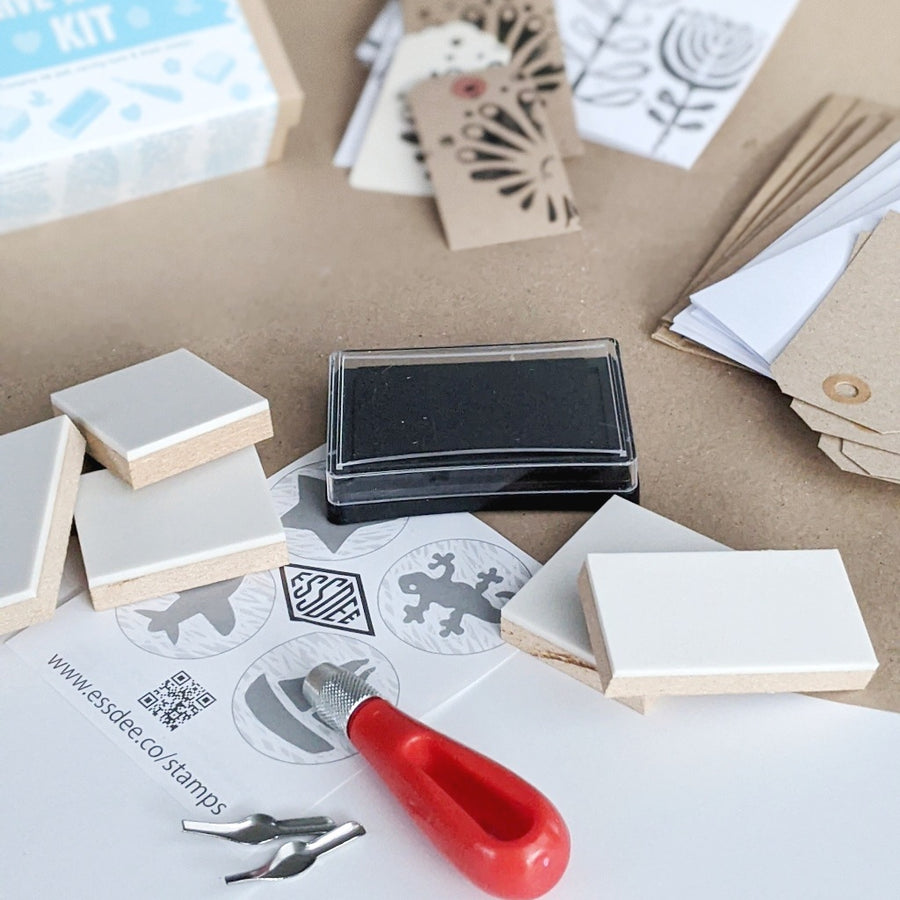 Carve A Stamp Kit By Essdee (Blank Cards & Gift Tags Included) - The Danes