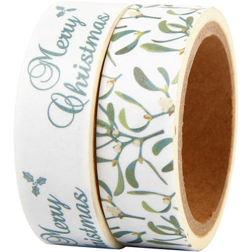 Christmas Washi Paper Tape - Merry Christmas & Mistletoe - The Danes