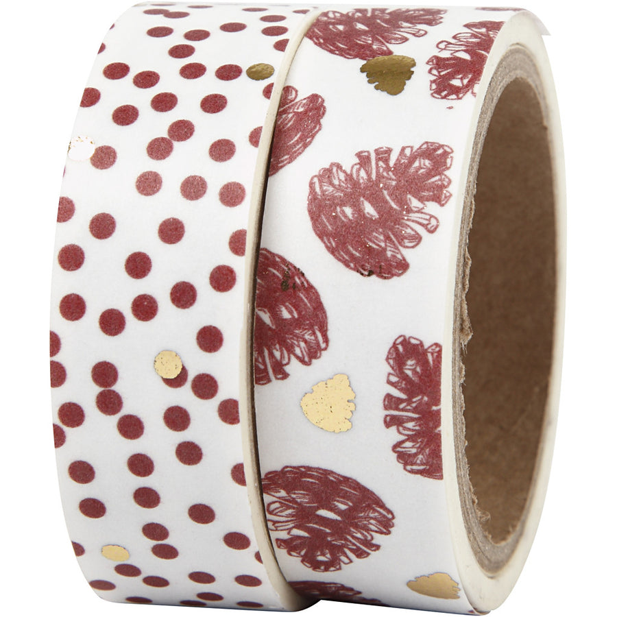 Christmas Washi Paper Tape - Red Pine Cones - The Danes