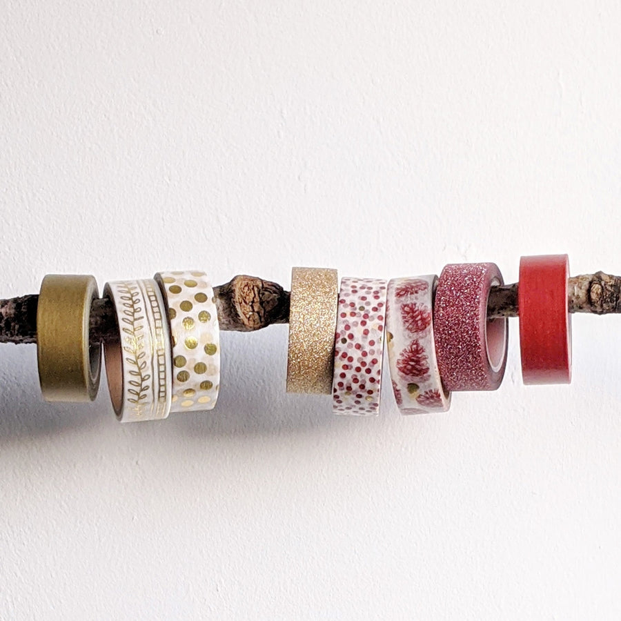 Red Washi Paper Tape - Matt & Glitter - The Danes