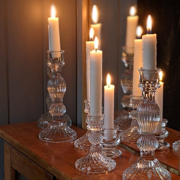 Tall Glass Dinner Candlestick - 20cm - The Danes