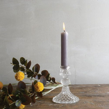 Clear Pressed Glass Dinner Candlestick - 10cm - The Danes
