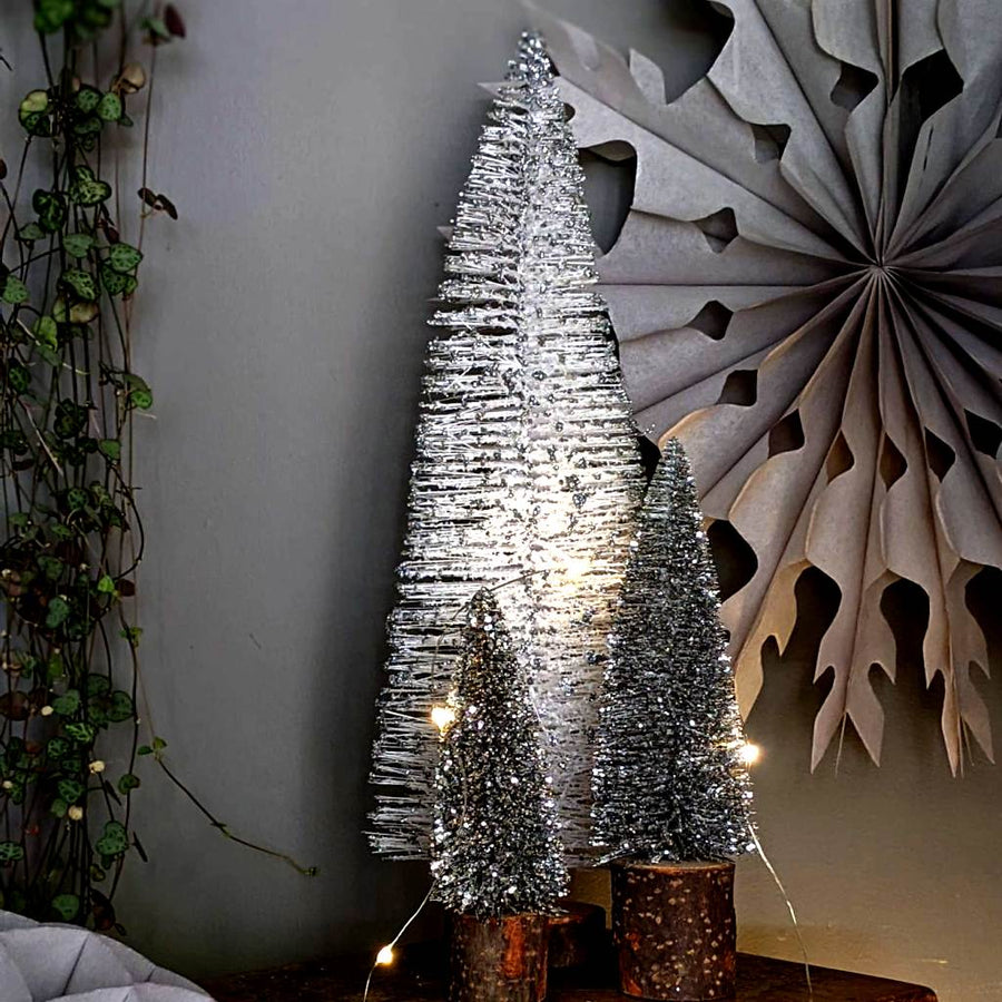 Decorative Silver & White Bottle Brush Trees - The Danes