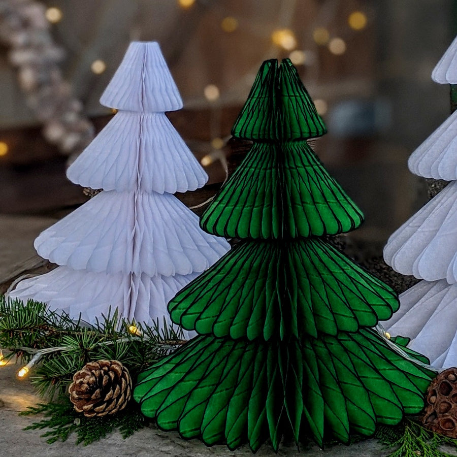 Green Honeycomb Paper Christmas Trees - 2 Sizes - The Danes