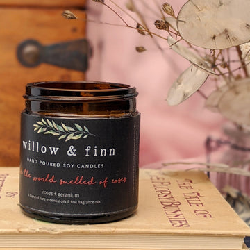 Handmade Soy Candle - Roses & Geranium - Willow & Finn - The Danes