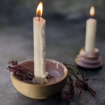 Handmade Stoneware Clay Candle Holder - The Danes