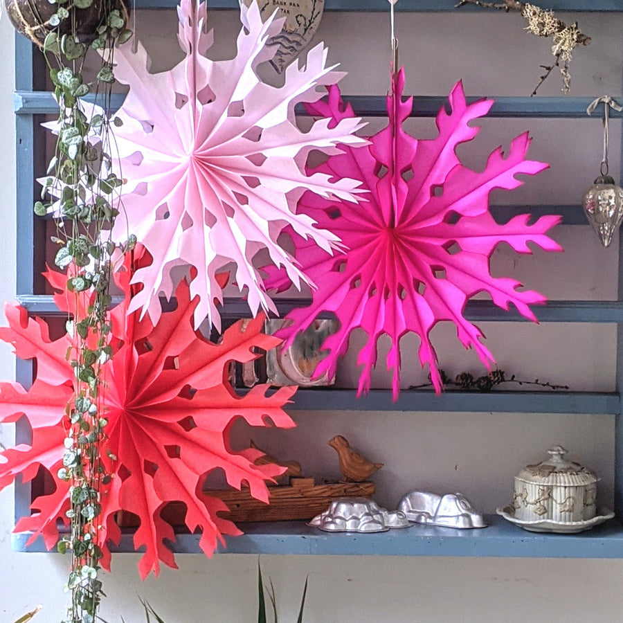 Honeycomb Tissue Paper Fans - Red & Pink - The Danes