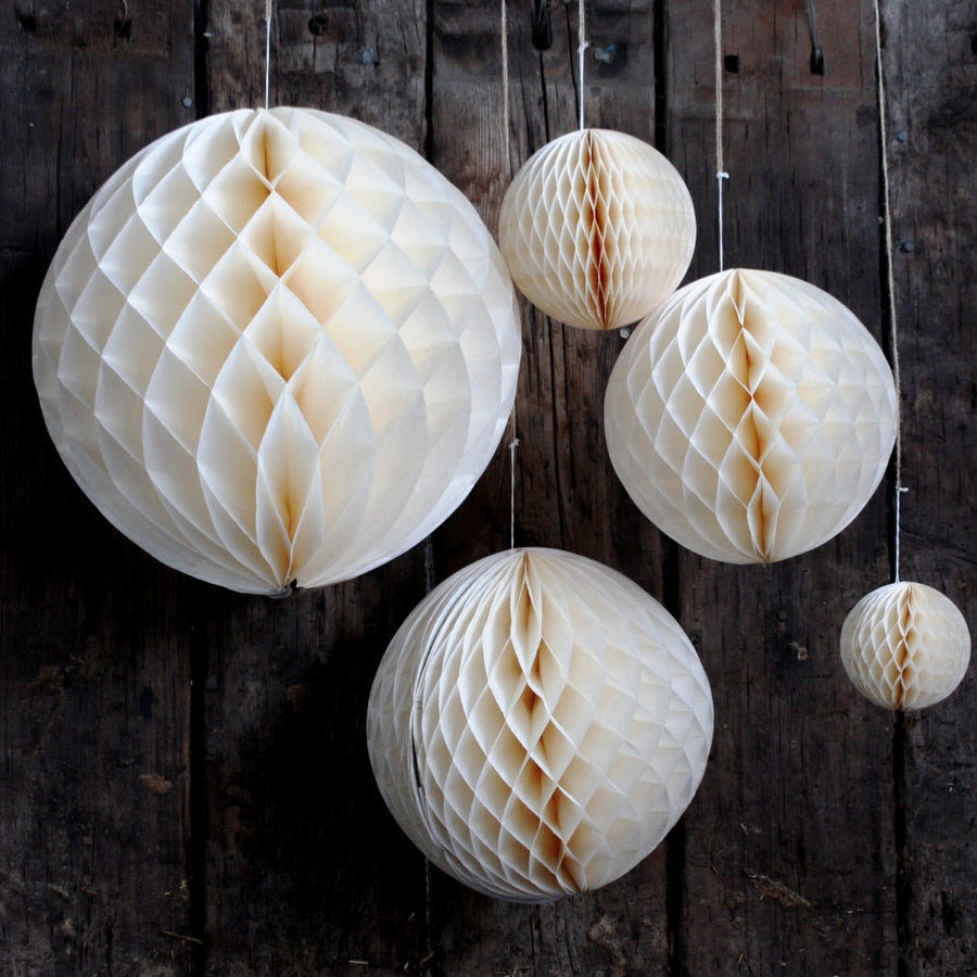 Ivory Honeycomb Paper Ball - The Danes