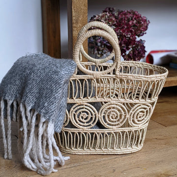 Madagascan Macrame Raffia Basket - The Danes