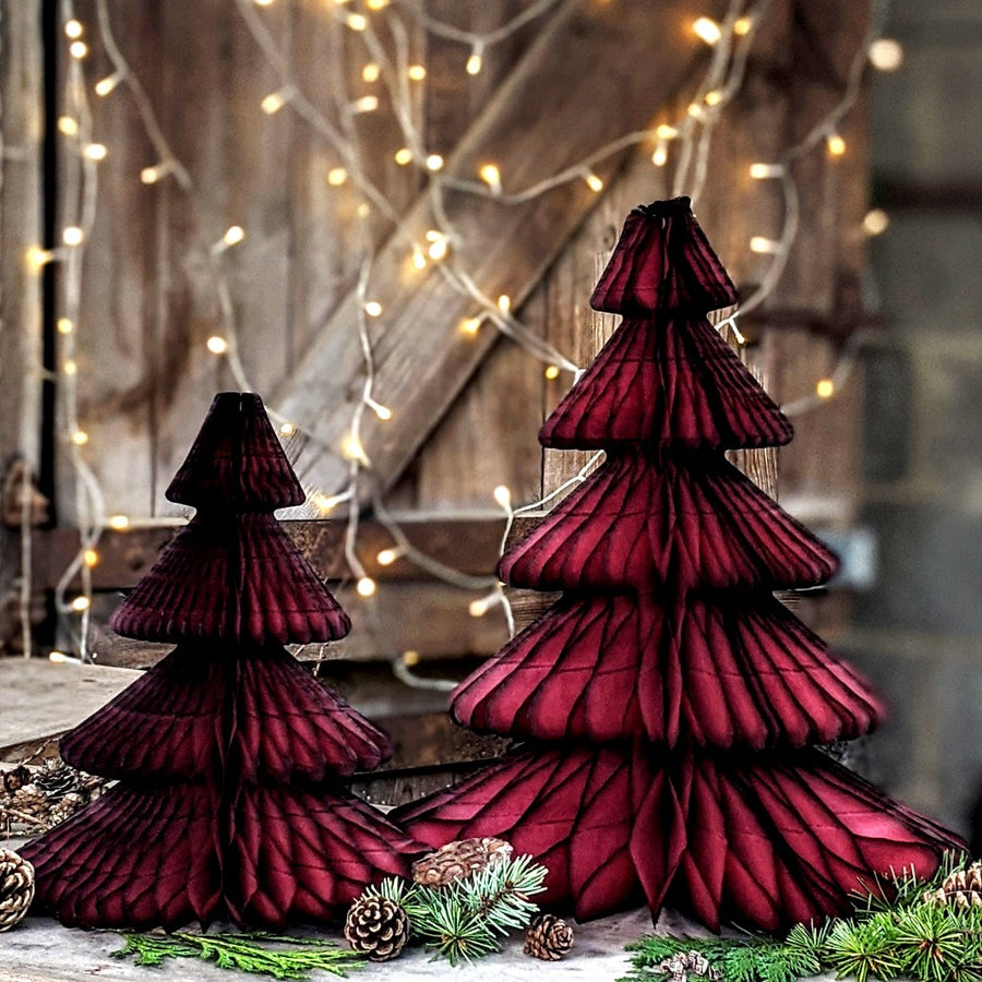 Maroon Honeycomb Paper Christmas Trees - 2 Sizes - The Danes