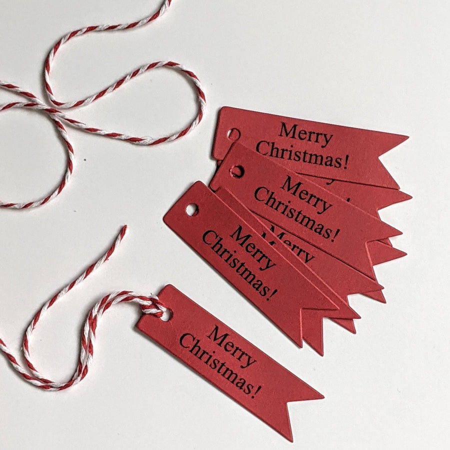 Merry Christmas Paper Gift Tags - Red Or Brown Kraft - The Danes