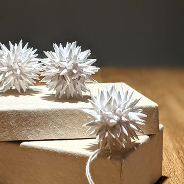 3 White Spiky Paper Bauble Decorations - Fair Trade - The Danes