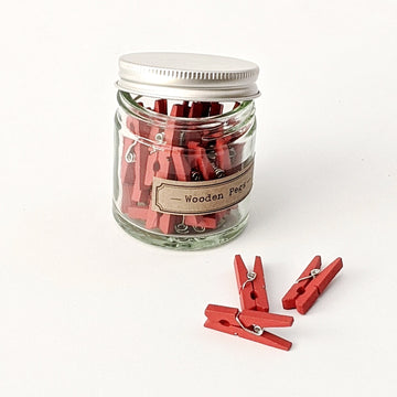 Red Wooden Craft Pegs in Glass Jar - The Danes
