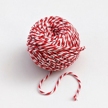 Red & White Bakers Twine - 100% Cotton, 40m Ball - The Danes