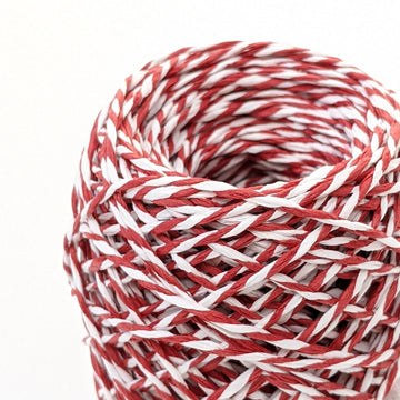 Candy Red & White Twisted Paper String - 50m - The Danes