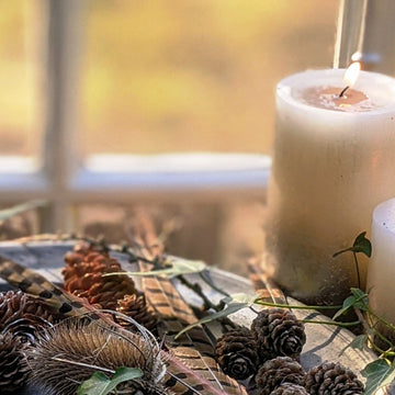 Rustic Ivory & Gold Ombre Pillar Candles - The Danes