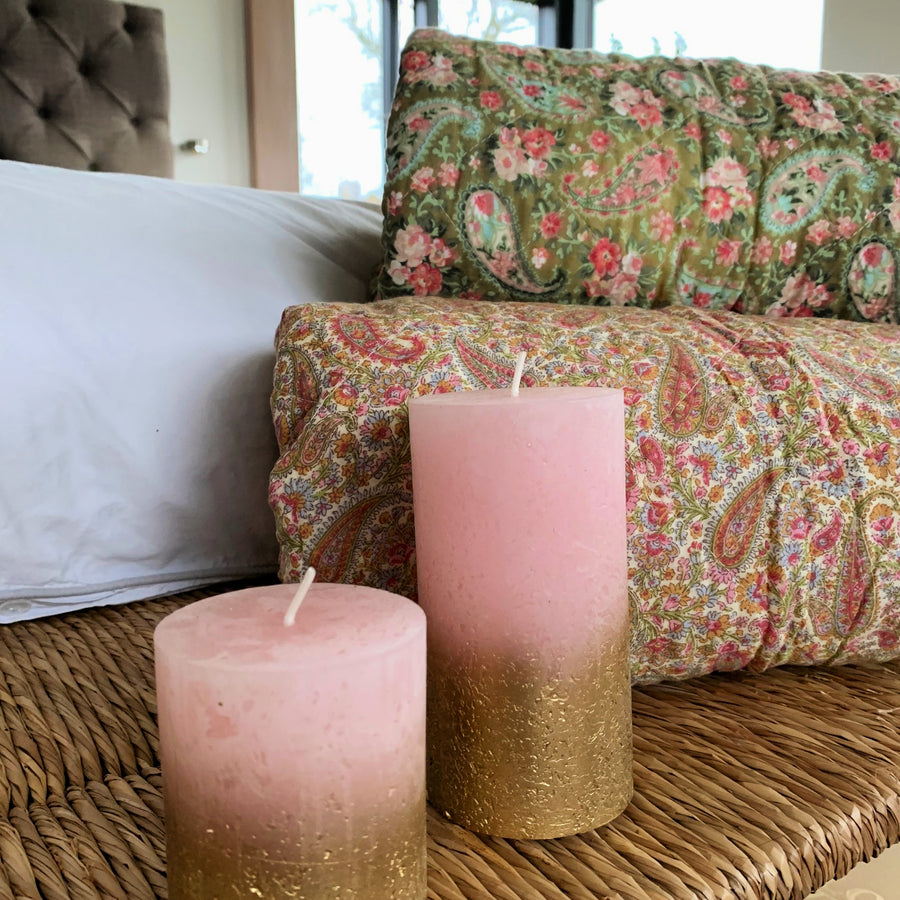 Rustic Pink & Metallic Ombre Pillar Candle - The Danes