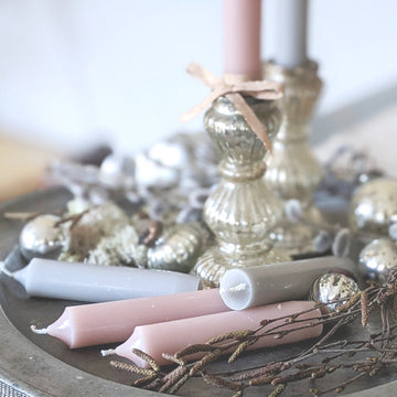 Short Dinner Candles x 10 - Grey & Pink - The Danes