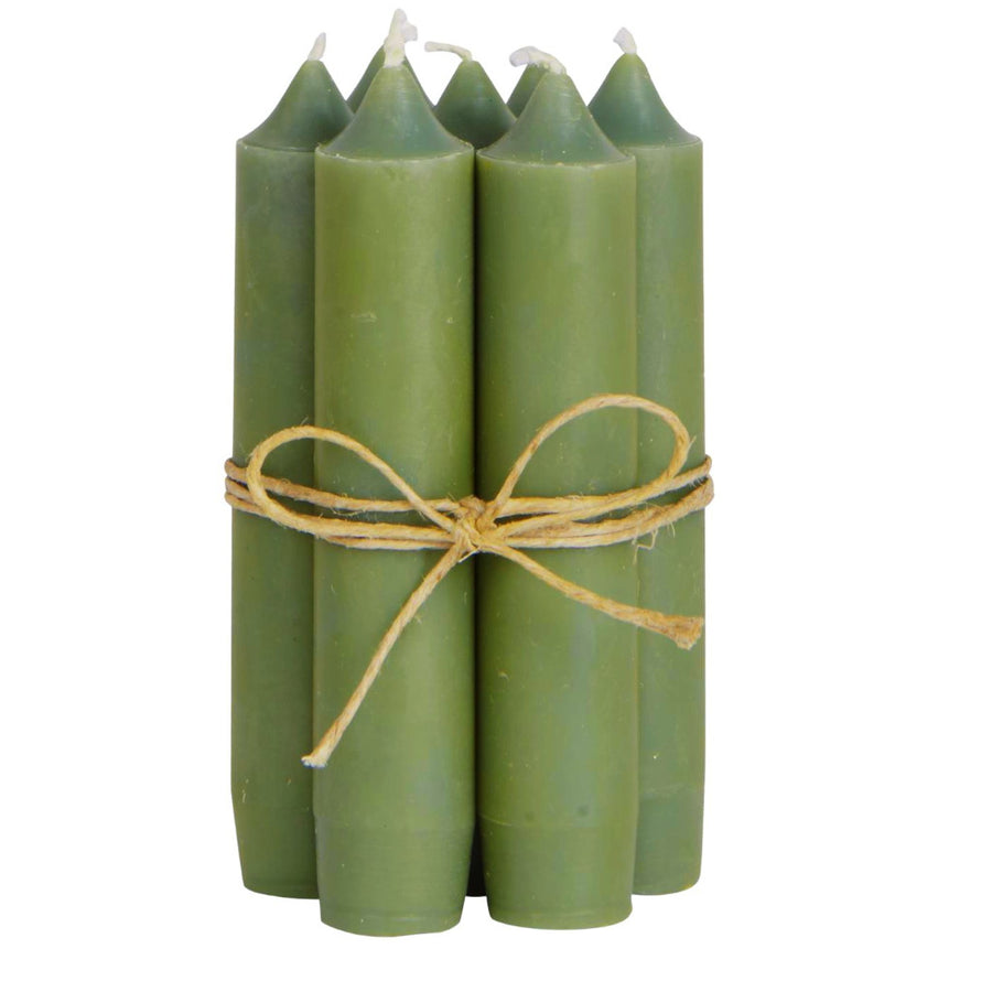 Short Dinner Candles x 10 - Olive Green - The Danes