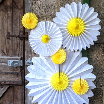 Daisy Flower & Yellow Honeycomb Paper Fans - 3 Sizes - The Danes