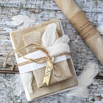 White Feather Kraft Wrapping Paper - 3m, 100% Eco Friendly - The Danes