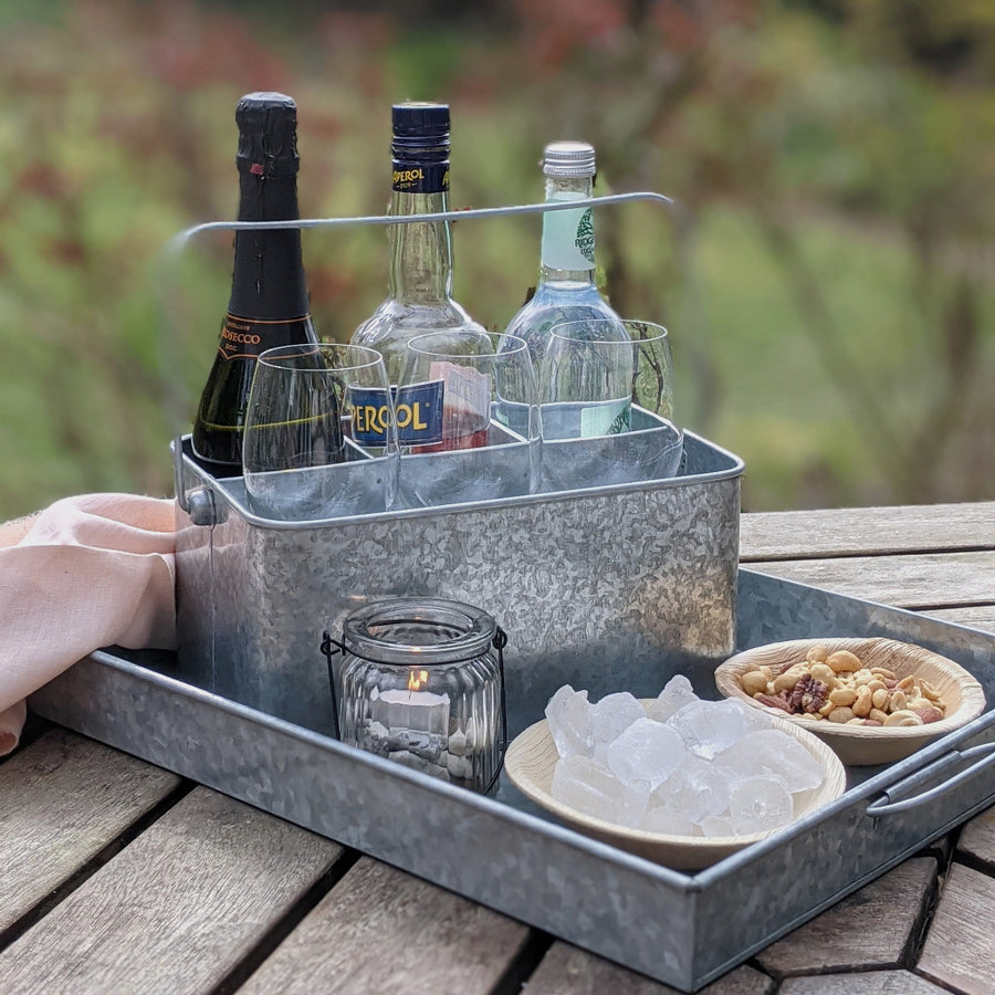 Zinc Metal Tray with Handles - 2 Sizes - The Danes