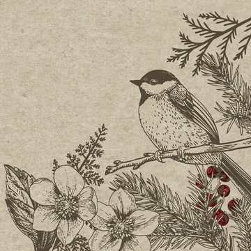 Winter Woodland Bird Botanical Cocktail Napkins - Unbleached - The Danes