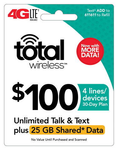 $100 Total Wireless Unlimited Talk, Text and 25GB Shared (4 Lines) - PhoneProbs